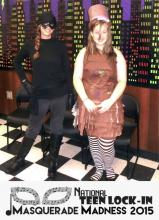Haven Miller and Mary Mc Adamson in their cosplay costumes, Dread Pirate Roberts and Mad Hatter.