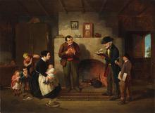 "Francis William Edmonds' 1854 painting, ""Taking the Census"""