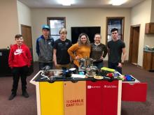 Teens at the Chesterfield County Public Library prepare healthy snacks using the Charlie Cart from the South Carolina State Library