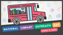 national library outreach day logo with bookmobile