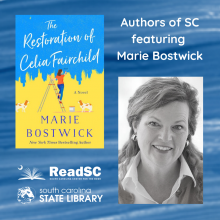 photo of Marie Bostwick and book cover of The Restoration of Celia Fairchild