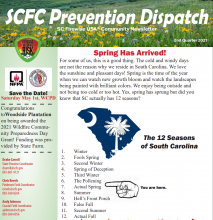 Cover of the SCFC Prevention Dispatch Newsletter