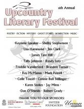 USC-Union to host Upcountry Literary Festival flyer image