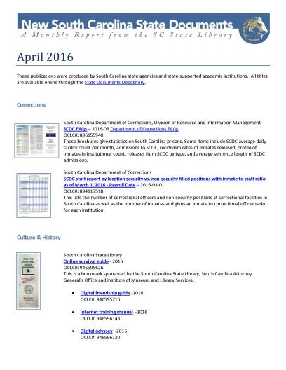 New South Carolina State Government Documents for April cover image