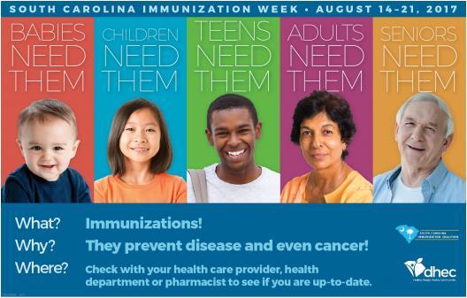 Immunize SC Week—August 14-21, 2017 Poster