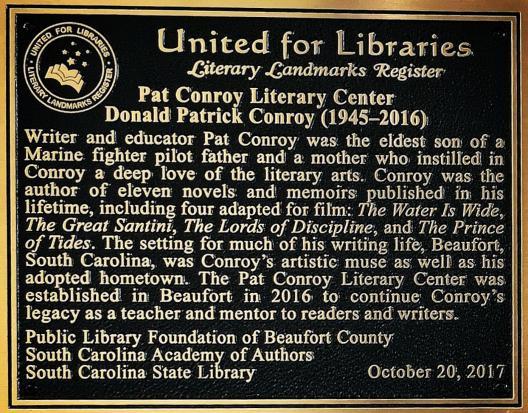 conroy literary landmark plaque
