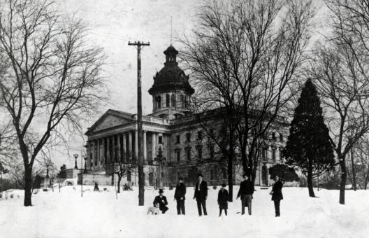 SC Statehouse Snow Scene 1930