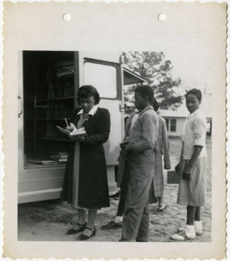 Patrons and library staff at the Orangeburg County Library bookmobile
