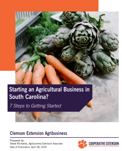 cover of Starting an agricultural business in South Carolina?: 7 steps to getting started featuring carrots and artichokes