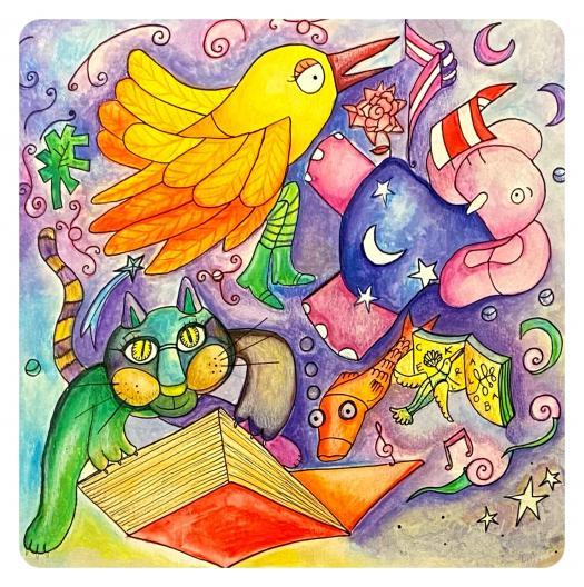 colorful artwork by Kanae Goji Muralist