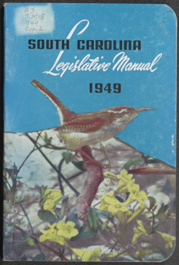 cover of 1949 SC Legislative Manual with carolina wren